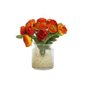 """Декоративные цветы """"Купальницы оранжевые"""" в стеклянной вазе"""