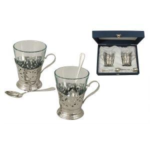 """Набор для чая на 2 персоны """"Del Treno"""" (silver)"""