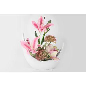 """Декоративные цветы """"Лилии розовые и орхидея"""" в керамической вазе"""