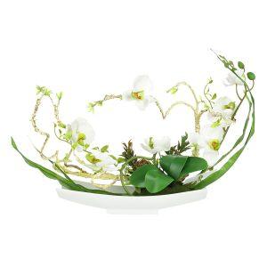 """Декоративные цветы """"Орхидея белая"""" на керамической подставке"""