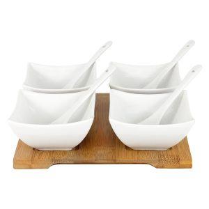 """Набор для закуски """"Белая коллекция"""": 4 салатника с 4 ложками на подносе в подарочной упаковке"""