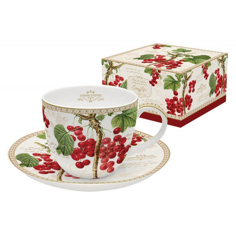 """Чашка с блюдцем """"Красная смородина"""" в подарочной упаковке"""