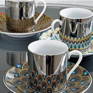 Зеркальная кофейная пара геометрия Mirrored coffee