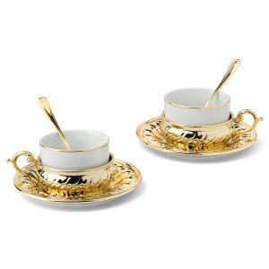 """Чайный набор на 2 персоны """"Stradivari"""" с отделкой под золото в подарочной коробке"""