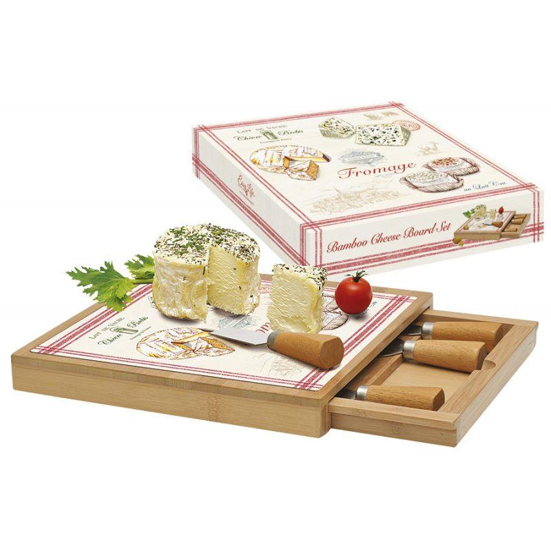 """Набор для сыра """"FROMAGE"""" (доска, выдвижной ящик с 4-мя ножами) в подарочной упаковке"""