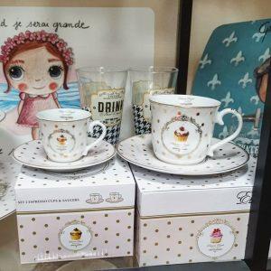 Набор из двух кофейных чашек с блюдцами Элеганс-Пирожные