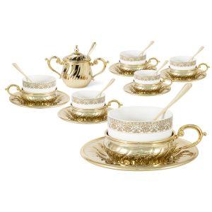 """Чайный набор на 6 персон """"Stradivari"""" с отделкой под золото в подарочной коробке"""