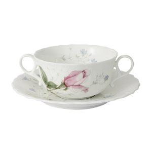 """Суповая чашка на блюдце """"Апрельская роза"""""""
