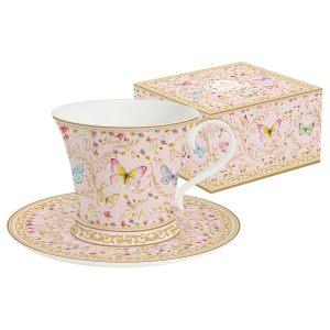 """Чашка с блюдцем """"Majestic"""" (розовая) в подарочной упаковке"""