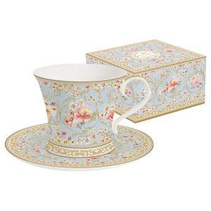 """Чашка с блюдцем """"Majesti"""" (голубая) в подарочной упаковке"""