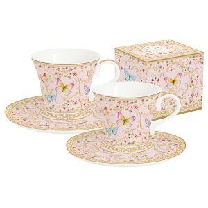 """Набор """"Majestic"""" (розовый): 2 чашки + 2 блюдца для кофе в подарочной упаковке"""