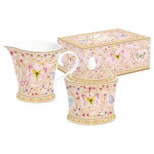 """Набор """"Majestic"""" (розовый): сахарница + молочник в подарочной упаковке"""