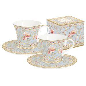 """Набор """"Majestic"""" (голубой): 2 чашки + 2 блюдца для кофе в подарочной упаковке"""