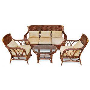 """Комплект для отдыха """"ANDREA"""" (диван, 2 кресла, журн.столик со стеклом и подушки)"""