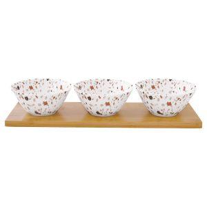 "Набор для закуски ""Terrazzo"": 3 салатника на подносе в подарочной упаковке"
