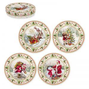 """Набор из 4 десертных тарелок """"Christmas time"""" в подарочной упаковке"""