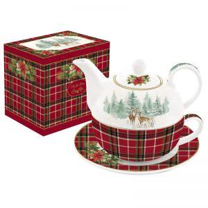 """Чайный набор """"Winter forest"""" (чайник, чашка и блюдце) в подарочной упаковке"""