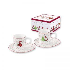 """Набор из 2 чашек с блюдцами для кофе """"CHRISTMAS GNOM"""" в подарочной упаковке"""