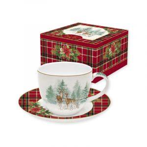 """Набор для завтрака (чашка и блюдце) """"Winter forest"""" в подарочной упаковке"""