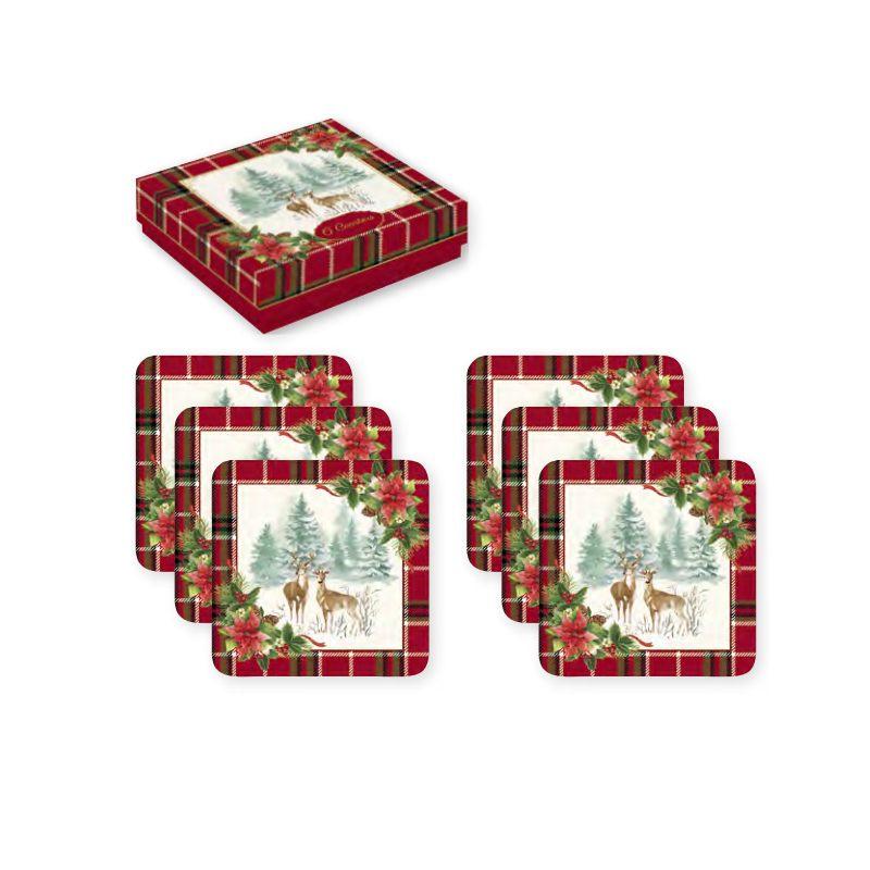 """Набор из 6 подставок под стаканы """"Winter forest"""" в подарочной упаковке"""