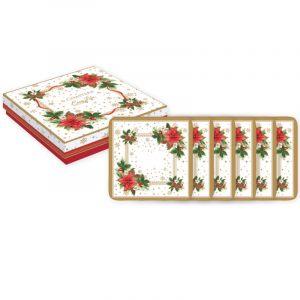 """Набор из 6 подставок под стаканы """"Poinsettia"""" в подарочной упаковке"""