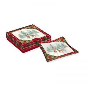 """Блюдо сервировочное стеклянное """"Winter forest"""" в подарочной упаковке"""