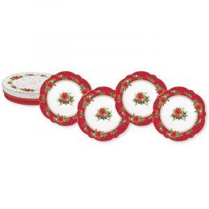"""Набор из 4 десертных тарелок """"Poinsettia"""" в подарочной упаковке"""