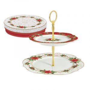 """Ваза для фруктов и сладостей двухъярусная """"Poinsettia"""" в подарочной упаковке"""