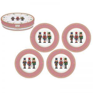 """Набор из 4 десертных тарелок """"NUTCRACKERS"""" в подарочной упаковке"""