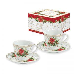 """Набор из 2 чашек с блюдцами для кофе """"Poinsettia"""" в подарочной упаковке"""