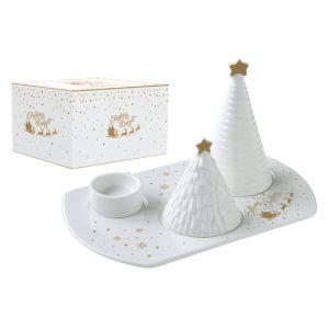 """Подсвечник с рождественскими деревьями """"Christmas delight"""" в подарочной упаковке"""