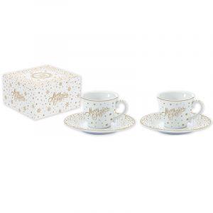 """Набор из 2 чашек с блюдцами для кофе """"Golden Christmas"""" в подарочной упаковке"""