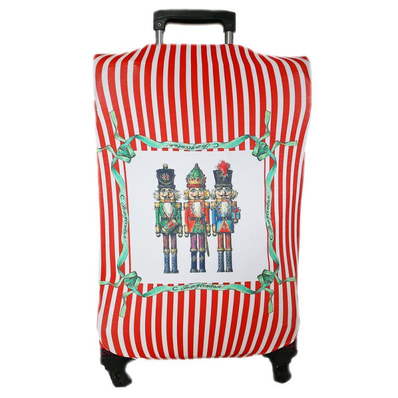 """Чехол для чемодана """"Щелкунчики"""" (в красную полоску)"""