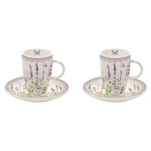 """Набор из 2 чашек с блюдцами для кофе """"Lavender field"""" в подарочной упаковке"""