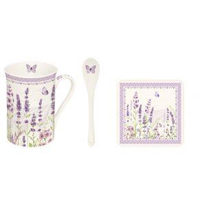 """Набор """"Lavender field"""" (кружка на подставке и ложка) в подарочной упаковке"""