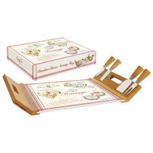 """Набор для сыра """"FROMAGE"""" (поднос/доска для сыра с 4 ножами) в подарочной упаковке"""