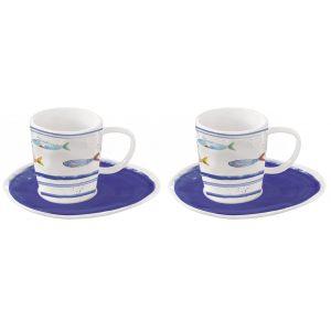 """Набор из 2 чашек с блюдцами для кофе """"Bord De Mer"""" в подарочной упаковке"""