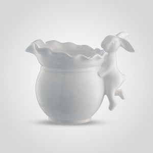 Ваза керамическая белая с Кроликом