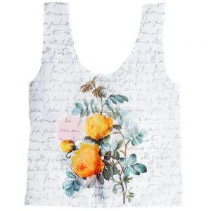 """Авоська """"Цветы на фоне текста"""" (букет с нарциссами и чайная роза)"""