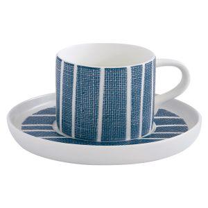 """Чашка с блюдцем """"Бриз"""" (синяя с белыми полосками) чайная без инд.упаковки"""