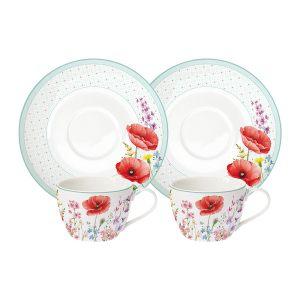 """Набор """"Красные маки"""": 2 чашки + 2 блюдца в подарочной упаковке"""