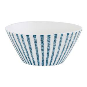 """Салатник """"Бриз"""" (белый с синими полосками) средний без инд.упаковки"""
