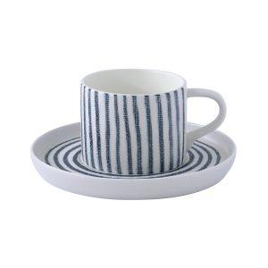 """Чашка с блюдцем """"Бриз"""" (белая с синими полосками) чайная без инд. упаковки"""