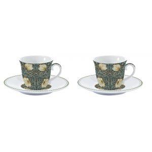 """Набор из 2 чашек с блюдцами для кофе """"Уильям Моррис"""" (темно-зелёный) в подарочной упаковке"""
