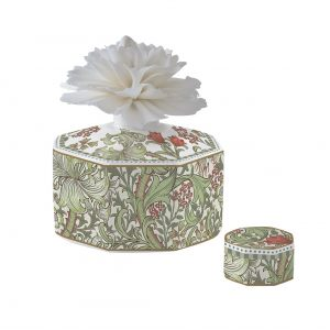 """Ароматический диффузор """"Уильям Моррис"""" (зелёный) с цветком в подарочной упаковке"""