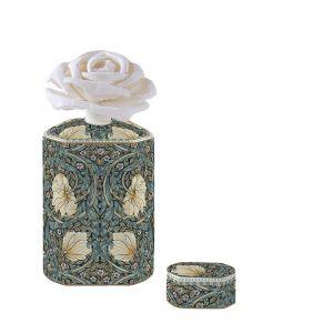"""Ароматический диффузор """"Уильям Моррис"""" (темно-зелёный) с цветком в подарочной упаковке"""