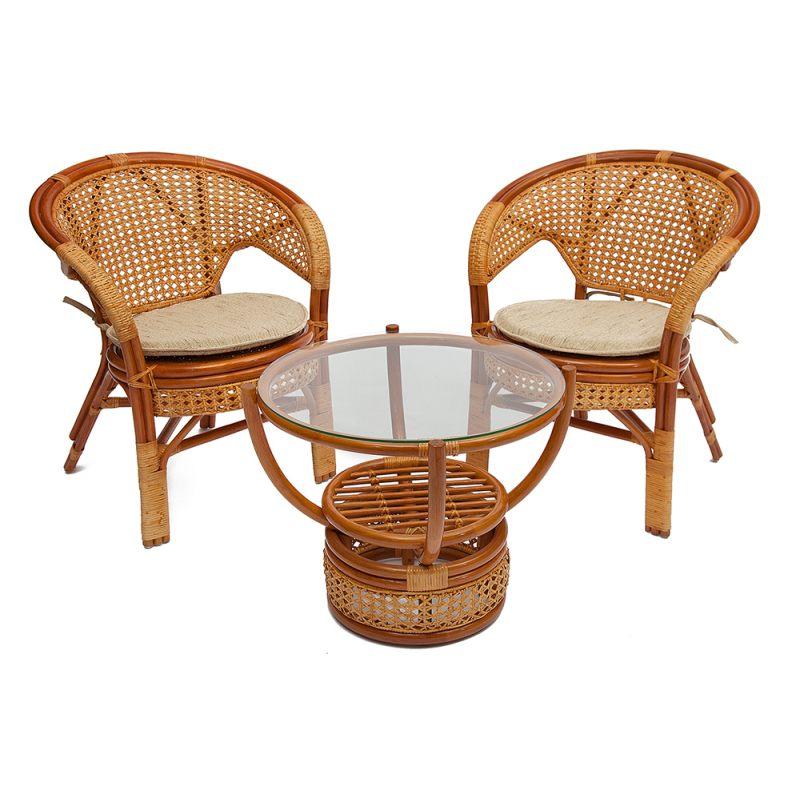 """Комплект для отдыха """"PELIKAN"""" (стол со стеклом+4 кресла без подушек)"""
