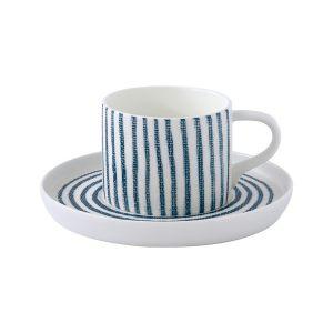 """Чашка с блюдцем """"Бриз"""" (белая с синими полосками) кофейная без инд.упаковки"""