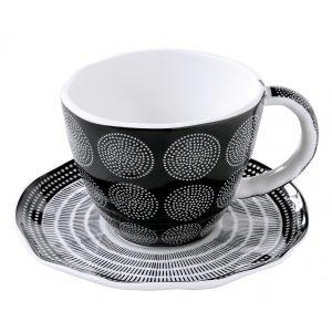 """Чашка с блюдцем """"Organic collection"""" черная в цветной упаковке"""