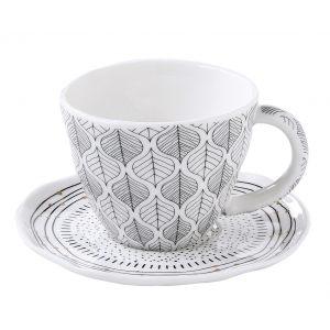"""Набор из 2 чашек с блюдцами для кофе """"Organic collection"""" (листья) в цветной упаковке"""